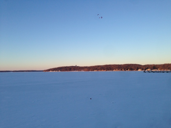 Sunrise at a frozen Lake Geneva, Wisconsin