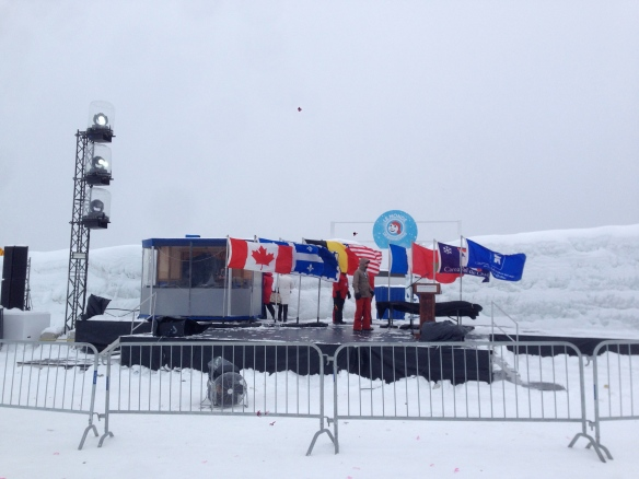 stage for the medals, the wind was crazy.