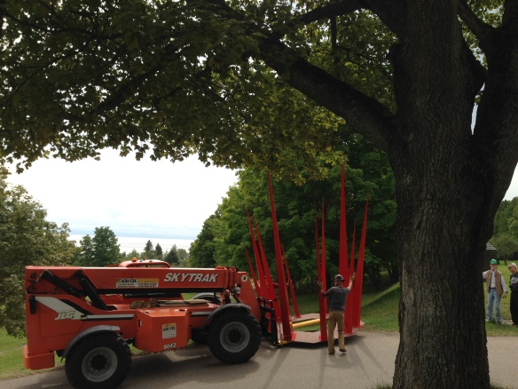 Moving the sculpture to a new location